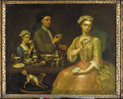 richard collins 1727 A Family of Three At Tea