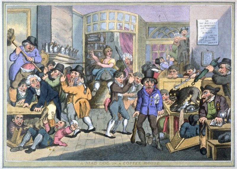 A Mad Dog in a Coffee House, by Thomas Rowlandson